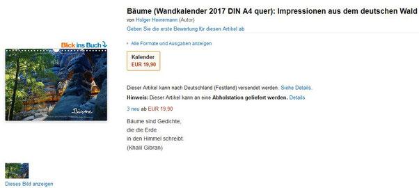 Kalender Baum Holger Heinemann Wald 2017