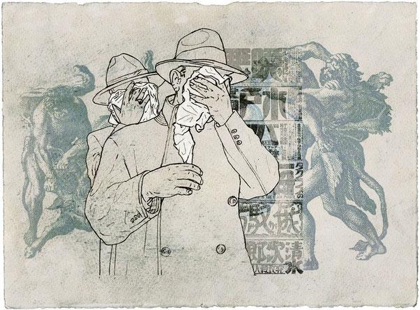 UNDER ARREST -graphite et jet d'encre sur papier - 33x38 cm