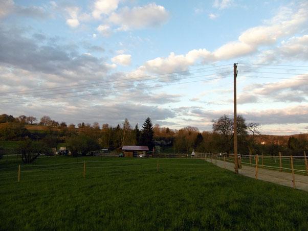 Der Stall vom Longierzirkel aus - auf dem Trailweg: der Kunstrasen. Nach wie vor: priiima! :-)