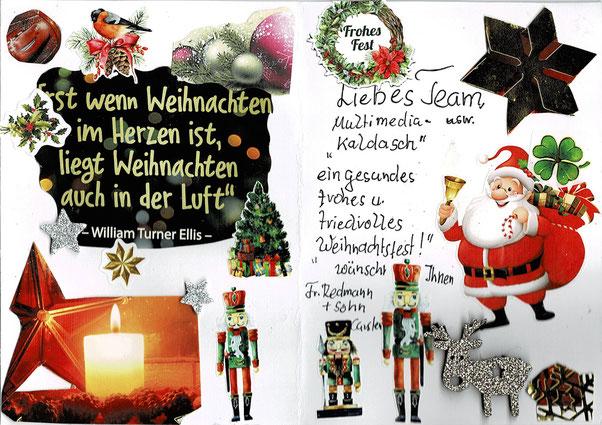 Selbstgebastelte Weihnachtskarte eines Kunden für EP Kaldasch.