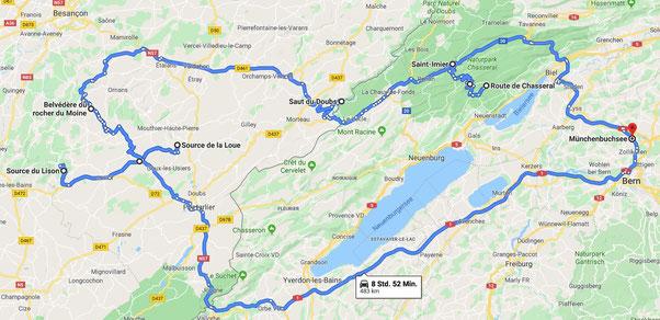 Jura Herbsttour 2019 (Karte Google Maps)