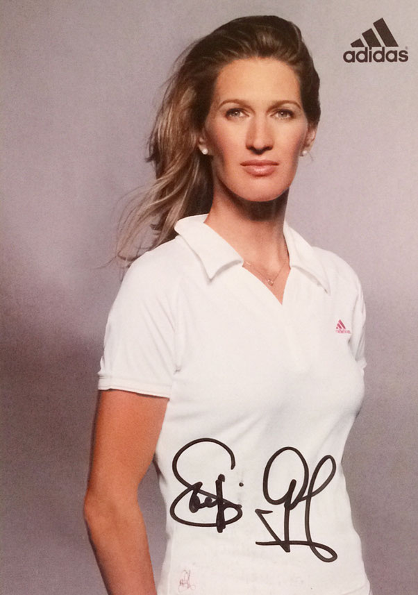 Steffi Graf Germany, retired,  won 22 Grand Slam Titles, Olympic Gold 1988, Hall of Fame 2004, Autograph bought