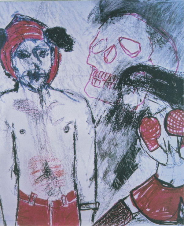 Boxeur #1 / 2002 / Acrylique, markers et craies sur papier / 50x50 cm / collection particulière