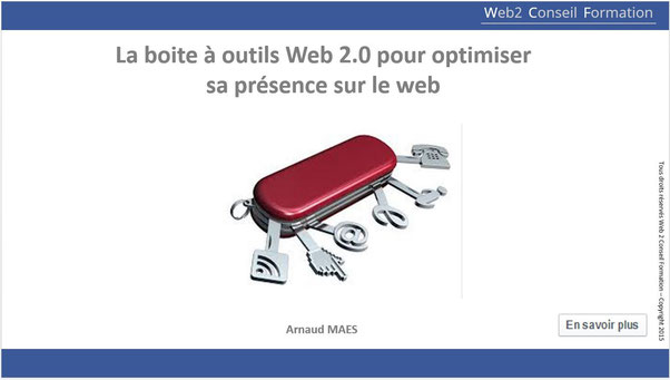 """Formation """" La boite à outil Web 2.0 pour optimiser sa présence sur le web"""" du cabinet Web 2 Conseil Formation"""