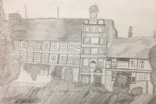 Das Bild wurde vor ca. 15 Jahren von einem Schüler der Heinrich-Heine-Schule gezeichnet.