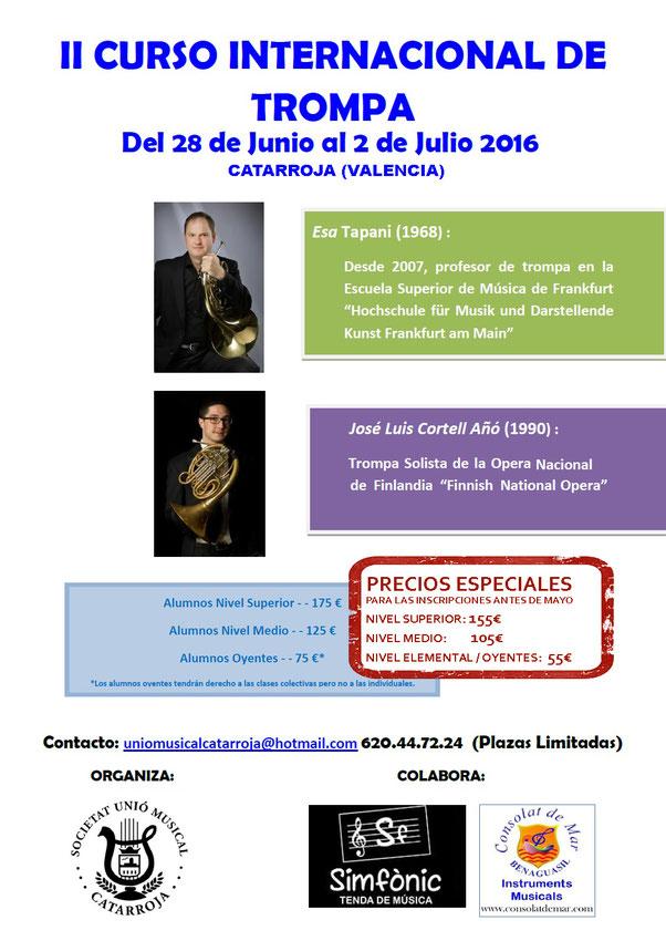 Curso internacional de trompa Unio Musical Catarroja, Jose Luis Cortell, Esa Tapani