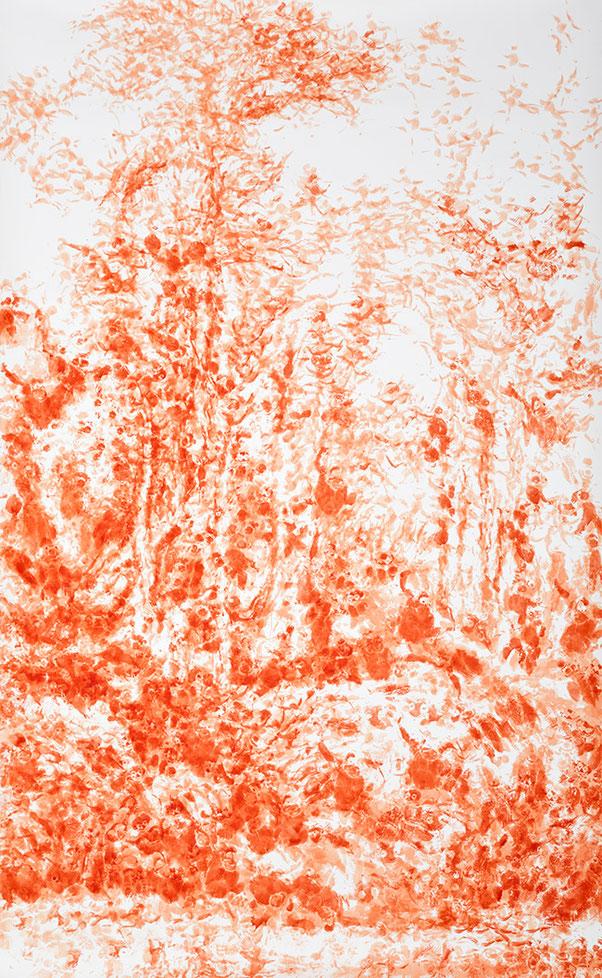 HERR IM GELIEHENEN GARTEN – MADE IN CHINA 2002 | Stofftierstempeldruck, Acryl auf Aquarellbütten | 256 × 156 cm
