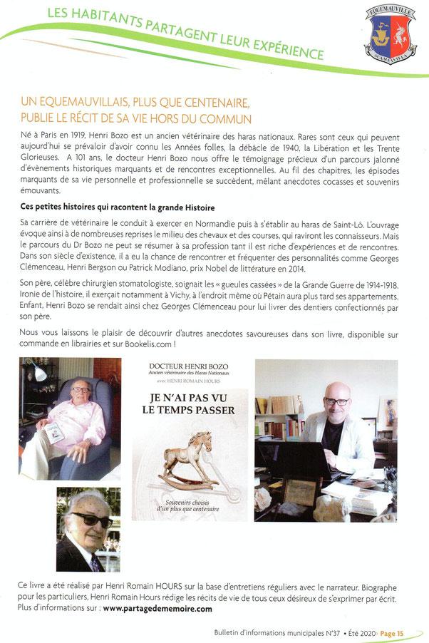 livre docteur henri bozo; biographie personnelle; écrivain normandie; honfleur; chevaux; haras; écrire sa biographie; récit de vie