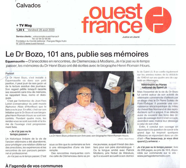 LIVRE DOCTEUR HENRI BOZO HENRI ROMAIN HOURS PARTAGE DE MEMOIRE BOOKELIS NORMANDIE HONFLEUR ECRIVAIN PUBLIC BIOGRAPHE HARAS CHEVAUX VETERINAIRE CALVADOS MANCHE