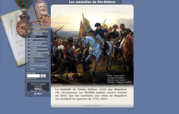 Page d'accueil des médaillés de Ste-Hélène