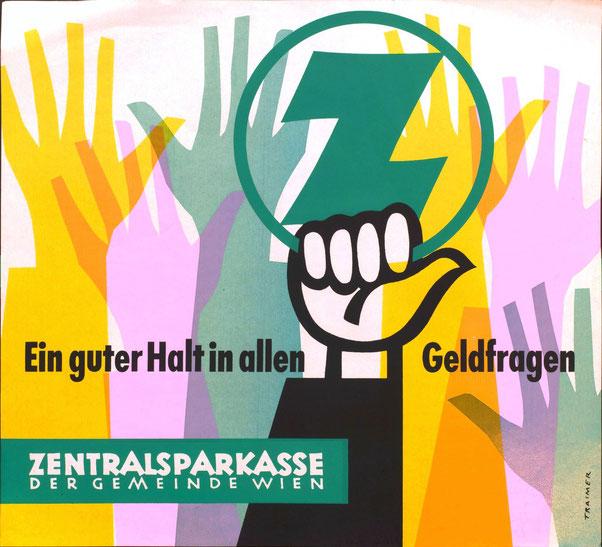 Heinz Traimer. Ein guter Halt in allen Geldfragen. Straßenbahnplakat der Zentralsparkasse der Gemeinde Wien.