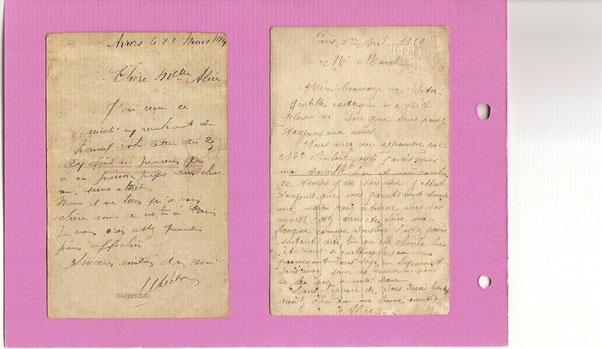 Mars 1919 : premiers courriers entre Marcel et Alice