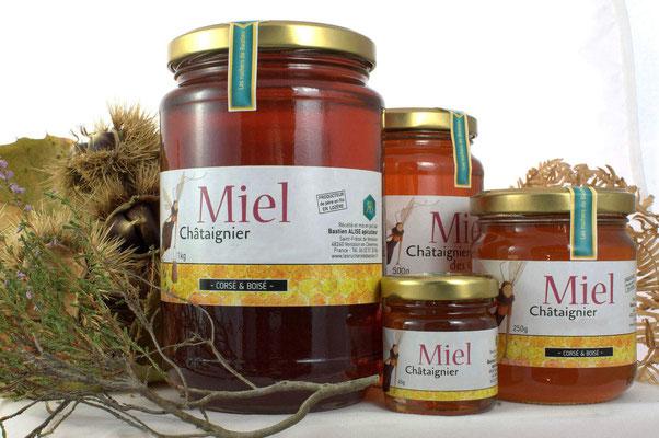 Les différents pots de miels de Bastien Miels des Cevennes des Causses et du Mont-Lozère
