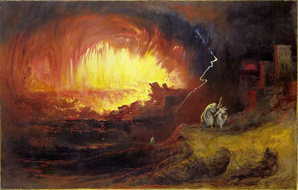 Dans la Bible, le feu est souvent associé à la destruction, à la disparition totale ou à la purification, à la condamnation ou à la culpabilité. Jéhovah a condamné et réduit en cendres les villes Sodome et Gomorrhe avec une pluie de feu et de soufre.