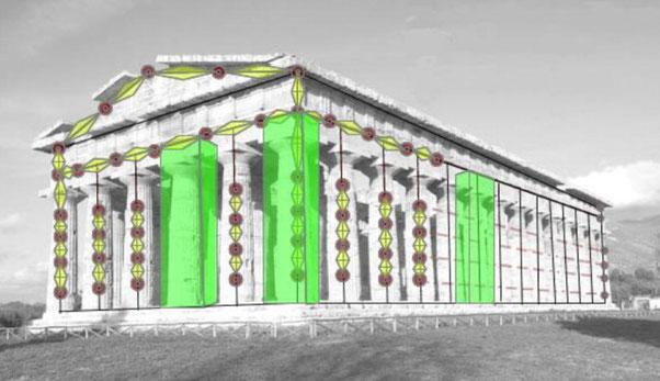 Modèle élaboré dans le cadre du projet des universités de Salerne et de Cassel. Les études ont montré que le temple de Neptune fut construit en employant un type spécial de travertin apte à résister aux secousses de tremblement de terre.