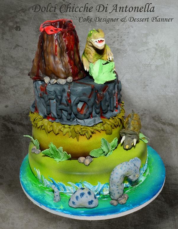 torta dinosauri-dolci-la spezia- liguria-feste-eventi-compleanno-bimbi