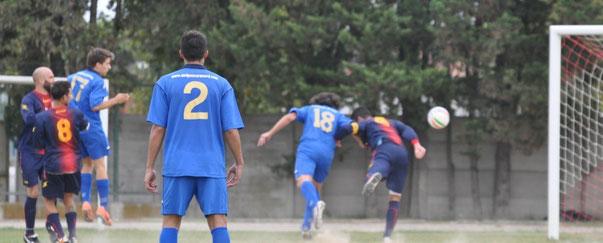 Nella foto il gol di Gabriele Sileno che ha regalato il primo punto ai biancazzurri