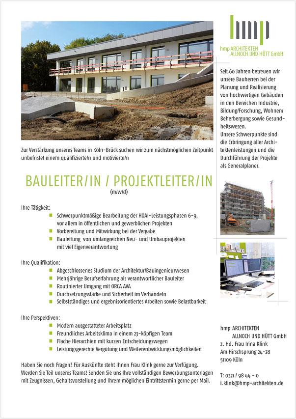 Stellenanzeige BauleiterIn, ProjektleiterIn hmp-architekten.de