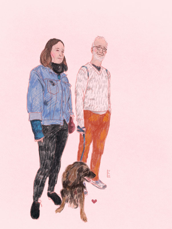 Portrait, Familie, Digitalart, Illustration, Zeichnung, Portraitzeichnung, Hund