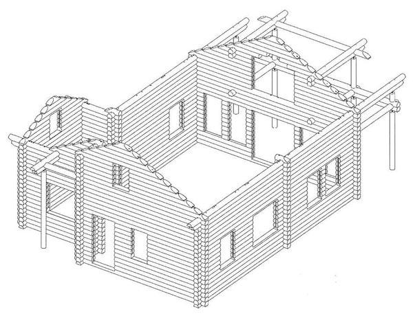 Blockbalkenrahmen vom Einfamilienhaus - Blockhausbau - Holzhaus in massiver Blockbauweise