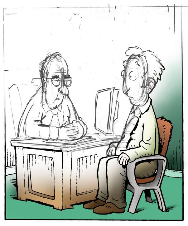 Cartoon in progress by Aaron Warner of Cartoon Studios
