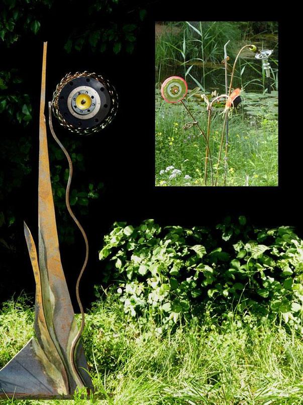 Fleurs artificielles que la nature accueille pourtant pour se défendre et mieux exposer encore son mystère. Installation paysagère hors-échelle.