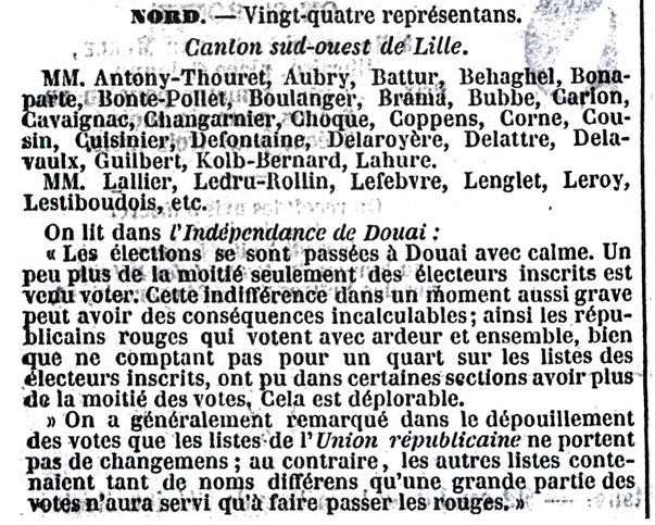 Article évoquant l'élection de Mai 1849 sur Douai