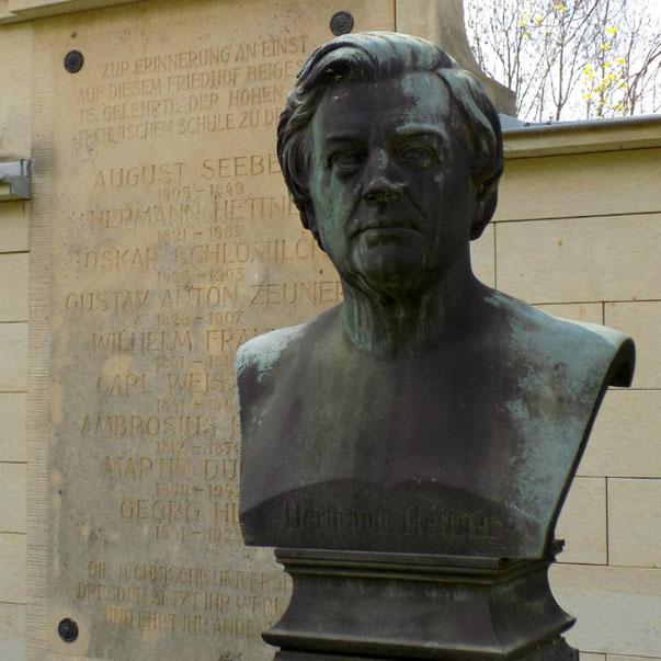 Hermann Hettner Büste Diebstahl Alter Annenfriedhof Dresden. Bild: Susann Wuschko