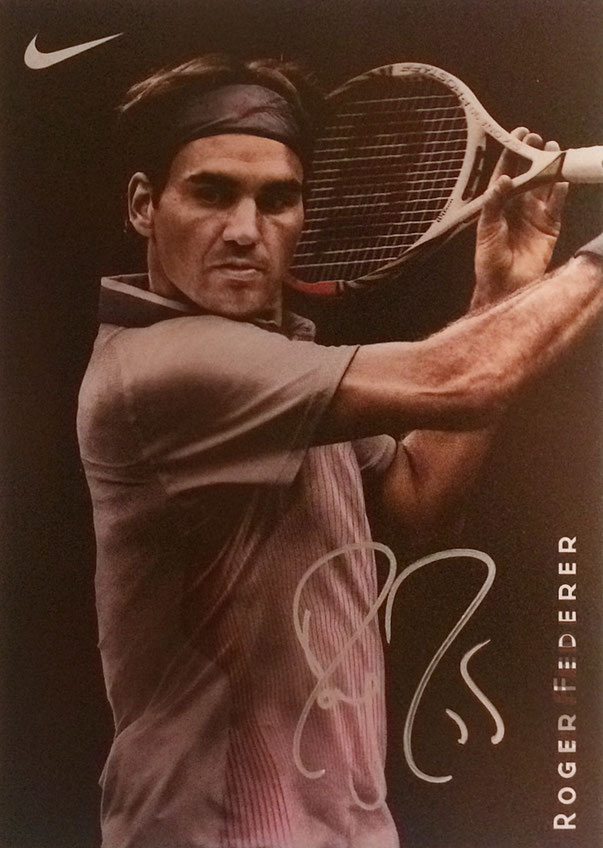 Roger Federer (King Roger) Switzerland, won 20 Grand Slam Titles, 103 Tournaments won, was 310 weeks ATP Nr 1, Olympia Gold together with Stan Wawrinka in Beijing, Olympia Silver in London, Autograph by Mail