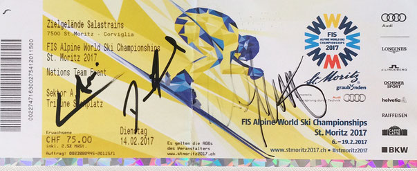 Ticket from Ski Worldchampionship in St. Moritz 14.02.2017 from left to right Luca Aerni World Champion Alpine Combination, Daniel Yule Slalom Skier, Reto Schmidiger 4th Team Event, all met in Person