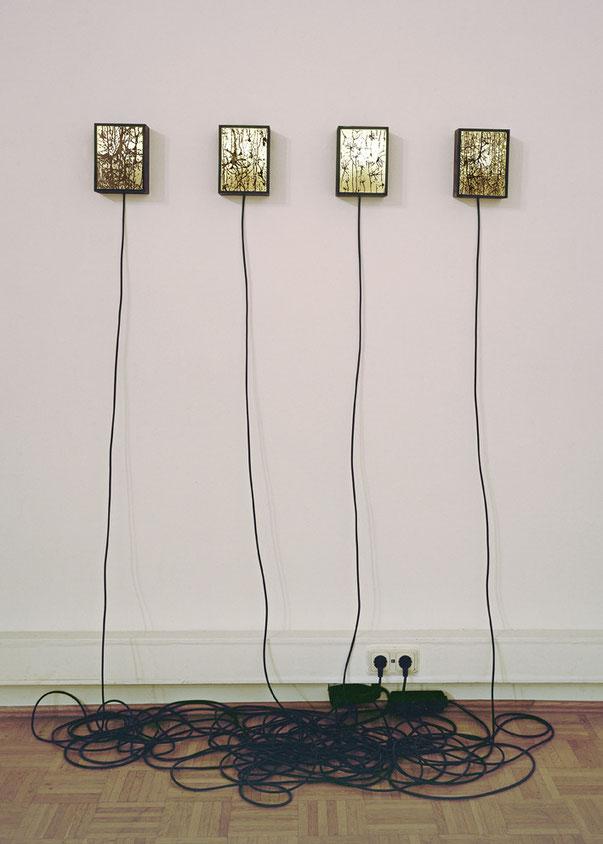 Synapsen in Leuchtkästen, Stahl, 14,5 x 19,5 x 8 cm, 2006/2010