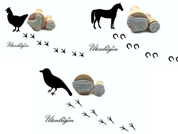 Huhn, Pferd und Vogel mit den entsprechenden Spuren