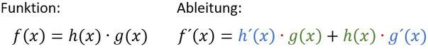 Formel für die Produktregel beim Ableiten.