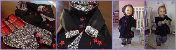 Le petit ensemble d'Amélie, manteau en jean doublé velours milleraies, pantalon et gilet tartan.
