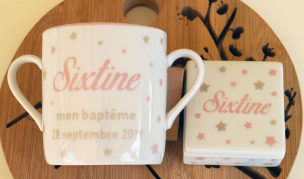 Tasse et boîte à dent peronnalisées pour un baptême