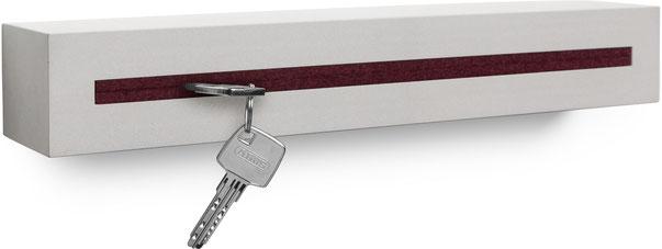"""Schlüsselbrett Beton light edition Filzeinlage """"Bordeaux"""""""