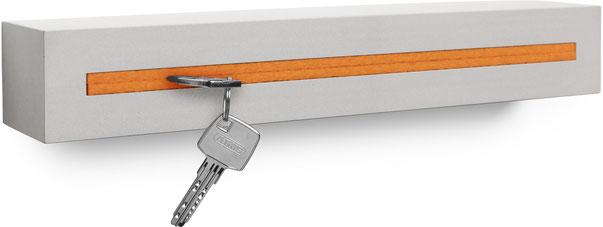 """Schlüsselbrett Beton light edition Filzeinlage """"Orange"""""""