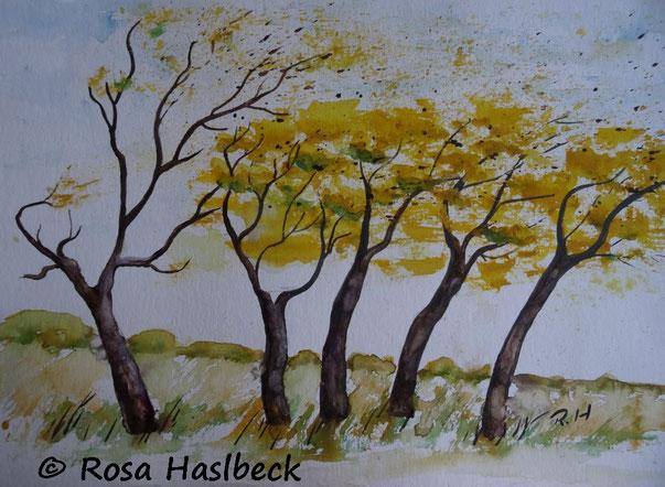aquarell, herbstaquarell, herbst, sturm, baum, bäume, ocker, braun, blau, bild, kunst, kaufen