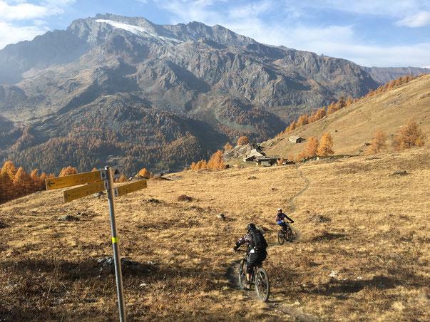 in avvicinamento all'Alpe Le Bois