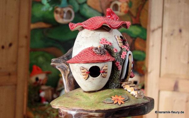 Keramik Wichtelhaus Hügelhaus Windlicht