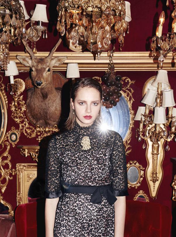 nd-830/13 Fr flower lace stand-collar  ribbon black dress (80,000 + tax)