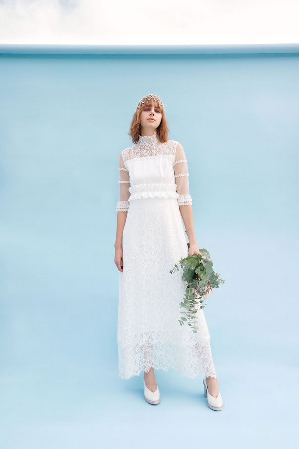 nd-1101/02 hi-neck tulle sleeve pleats ribbon wedding dress (semi-order  ¥380,000+tax)