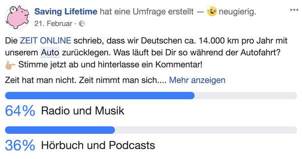"""Umfrage innerhalb unser Facebook-Community zum Thema: """"Was läuft bei Dir so während der Autofahrt?"""""""