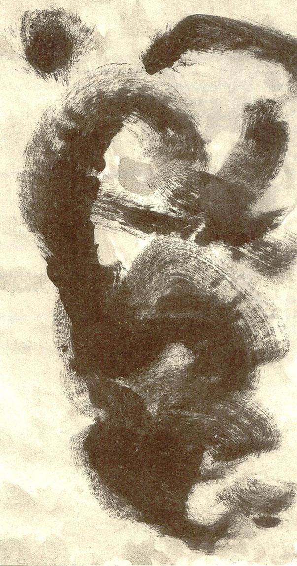 Pedro Meier Tuschpinselzeichnung Nr.1, Drehpunkt Nr. 101, Literaturzeitschrift 1998. Hrsg. Rudolf Bussmann und Martin Zingg, Lenos Verlag. Texte: Irmtraud Morgner, Elke Erb, Sibylle Berg, Ingomar von Kieseritzky, Beat Sterchi. Gerhard Meier-Weg Niederbipp