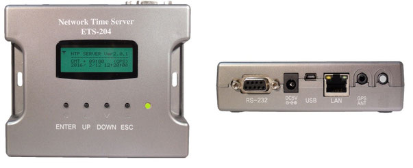GPS専用ネットワークタイムサーバー前面、側面写真