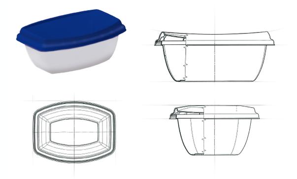 GOLßENER - Feinkostsalate - Technische Zeichnung der finalen Verpackungsform - Spreewald - Produkt Design - DesignKis - 2013
