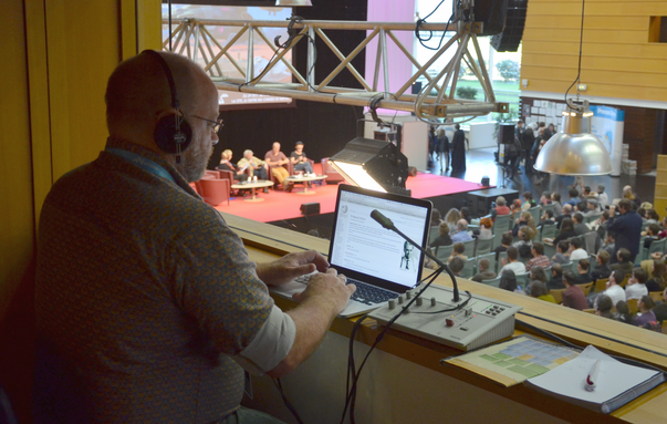 in-booth interpreting and simultaneous translation at the Utopiales Science Fiction Festival at La Cité, Nantes Events Centre