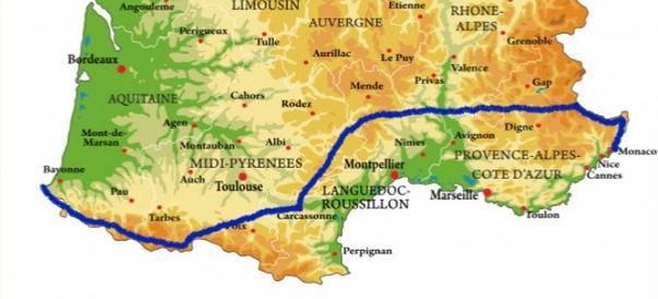 Carte Traversée de la France d'Ouest en Est. Traversée de la France Max de Nature