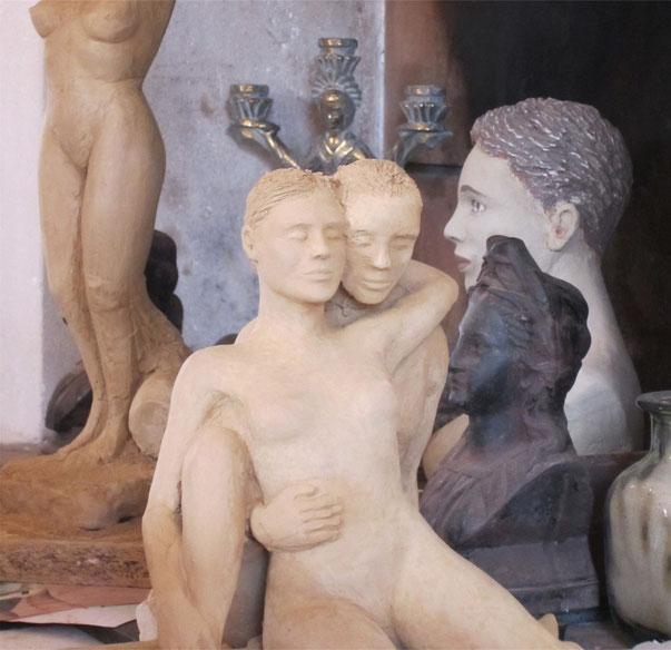 sculptures argile nus féminins, couples.nouveausculpteur