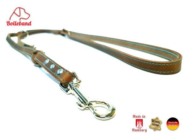 Lederleine braun 1,5 cm breit 2 m lang mit türkiser Doppelnaht mit 3 Verstellringen von Bolleband